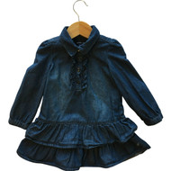 Baby Gap Dark Denim Ruffle Skirt Dress