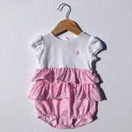 Ralph Lauren Pink & White Floral Ruffle Play Suit