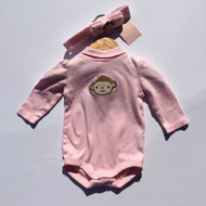 Gymboree Pink Monkey Body Suit & Headband