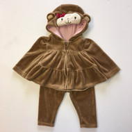 Gymboree Brown Velour Monkey Hood Jump Suit