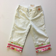 New! Gymboree White with Pink Ribbon Capris