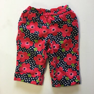 Gymboree Navy Polka Dot and Red Pansies Cuffed Capris
