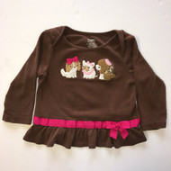 Gymboree Brown Puppy &  Pink Ribbon Top