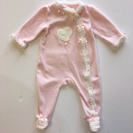 Little Me Pink Velour & Ruffle Coverall