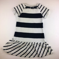 Nautica White & Navy Stripe Drop Waist Dress