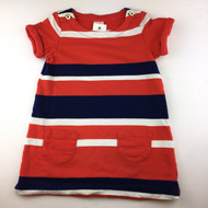 Gymboree Orange, Navy & White Striped Shift Dress