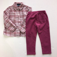 Burberry Plum Plaid Button Up Shirt &  Leggings Set