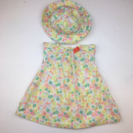 Petit Bateau Florescent Yellow, Teal, Peach Floral Dress & Hat