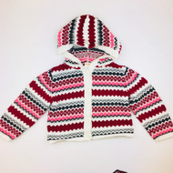 Gymboree Burgandy, Grey & Pink Winter Knit Hooded Cardigan