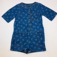 Baby Gap Dark Denim & White Floral Print Shorts Romper