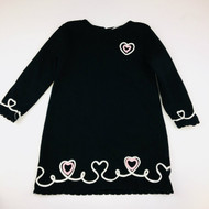Maggie & Zoe Black White & Pink Cursive Hearts Sweater Dress