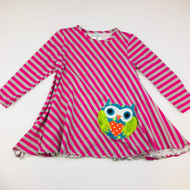 Peaches 'n Cream Magent & Gray Striped Owl Top