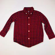Janie & Jack Red & Navy Plaid Button Up Shirt