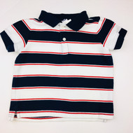 Janie & Jack Navy, White & Red Striped Polo Shirt