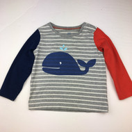 Baby  Boden Grey & White Striped Whale Top