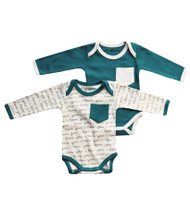 Cat & Dogma I Love You Teal Bodysuit 2 Pack