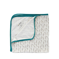 Cat & Dogma Teal I Love You Receiving Blanket