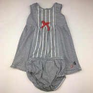 Nautica Navy & White Striped Cotton Dress with Diaper Cover