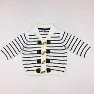Janie & Jack White & Navy Stripe Toggle Cardigan