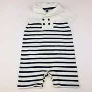 Janie & Jack White & Navy Striped Shortall