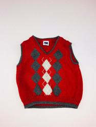 Janie & Jack Red & Grey Argyle Sweater Vest