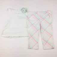 Janie & Jack Green & Pink Plaid Tank Top & Capri Set
