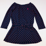 Ralph Lauren Navy & Pink Polka Dot Drop Waist Dress