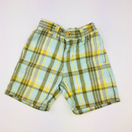 Janie & Jack Olive, Teal, & Yellow Plaid Shorts