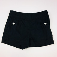 Janie & Jack Black Flat Front Canvas Shorts