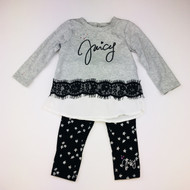 Juicy Couture Black & Grey Lace Two Piece Set