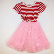 Kosse Designs Pink with Red Stripes Tulle Dress