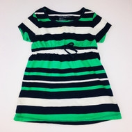 Baby Gap Navy, Emerald Green & White Stripe Cotton Dress