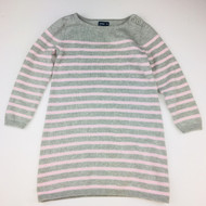 Baby Gap Grey & Light Pink Striped Sweater Dress
