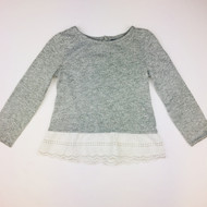 Baby Gap Grey & White Fleck Top with Lace Eyelet Trim