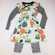 Tea Collection Navy , Orange, Green Floral Dress with Leggings