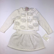 New With Tags! Heirloom by Polly Flinders Ivory Knit Skirt & Studded Cardigan