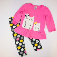 Gymboree Pink & Grey Sleepy Owl Top & Leggings