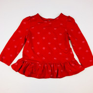 Baby Gap Red & Glitter Polka Dot Peplum Top