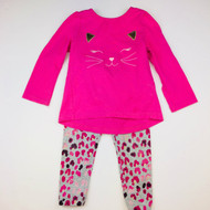 Gymboree Pink & Grey Kitty Top & Leggings