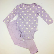 Baby Gap Lavender & White Polka Dot Bodysuit with Lavender Leggings
