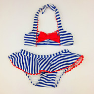 Janie & Jack Blue & White Striped Bikini with Red Trim