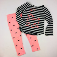 Gymboree Black, Grey & Melon Kitty Top & Leggings