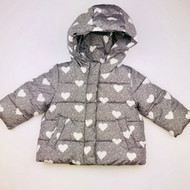 Baby Gap Dark Grey & White Hearts Quilted Hooded Jacket