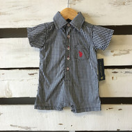 NEW!  US. Polo Association Checkered Shorts Romper