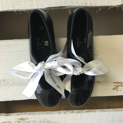 ABT Black Tap Shoes With White Ribbons - Abt shoes