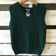 Polo by Ralph Lauren Green Cable Knit Sweater Vest