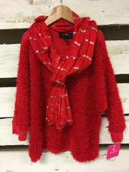 New! Amy Byer Red Sweater & Scarf Set