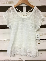 New! Beautees White Lace Two Piece Top