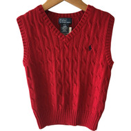Polo by Ralph Lauren Red Cable Knit Sweater Vest