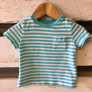 Baby Gap Teal Sriped Pocket Tee